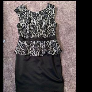 Body-con Black and Tan lace design dress